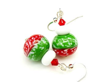 Red Green Earrings, Christmas Earrings, Lampwork Earrings, Glass Bead Earrings, Cute Earrings, Holiday Earrings, Christmas Jewelry