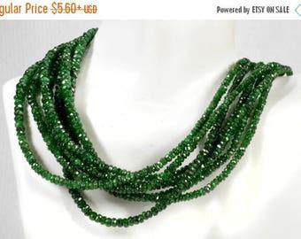 ON SALE Tsavorite Garnet Beads Faceted Rondelles Green Garnet Roundels Semiprecious Earth Mined Gem - 2.8 to 4mm - Choose Strand Length