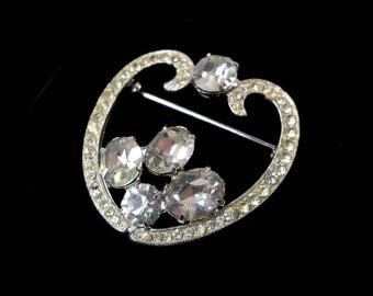Vintage Sparkly RHINESTONE Silver Heart Love Pin Brooch