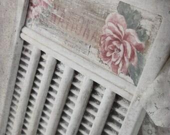 French Farmhouse Shabby Towel Rack w Mauve Shabby Roses. Victorian Charming Romance Decor . OOAK by 3VintageHearts.