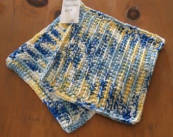 Pot Holders French Country Blue & Yellow Crochet Set of 2 100% Cotton 2 Strands of Yarn Eco Friendly Large 8 1/2 x 8 1/2