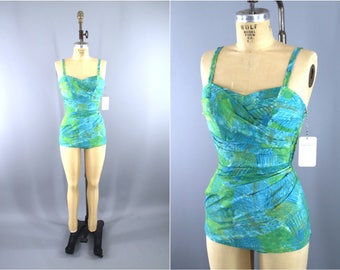 Vintage 1950s Swimsuit / 50s Catalina Swimming Suit / 1950 Maillot One Piece / Blue Green / XS
