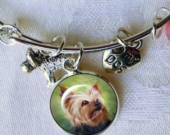 Yorkie Charm Bracelet ~ Girlfriend Gift ~ Wire Bangle ~ July Birthday ~ Yorkie Owner Gift ~ Yorkie Jewelry