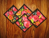 """Fabric Coasters, Red Roses Orange and Blue Flowers, Reversible Drink Mats, Quilted, Gifts under 20, 5x5"""", Hostess Gift Whimsical Handmade"""