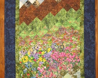 """Tahoe Mountain Stream and Wildflowers Fabric Wall Hanging, Textile Art Quilt, 23 x 40"""" 100% Cotton Fabrics"""