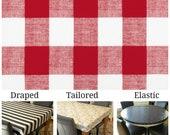For mcmtpopp Laminated cotton heavyweight tablecloth, fitted by ELASTIC, red & white Buffalo Plaid large gingham check