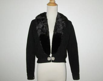Vintage 1950s Sweater / 50s Black Cashmere Sweater With Black Mink Collar And Rhinestone Clasp By Bernhard Altmann - Size M