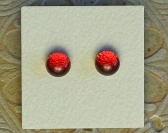 Dichroic Glass Earrings, Red/Orange DGE-1006