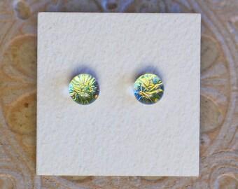 Dichroic Glass Earrings , Golden Green  DGE-1212