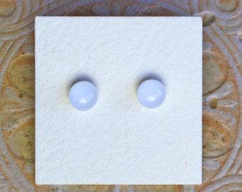 Fused Glass Earrings, Petite, White  DGE-1245