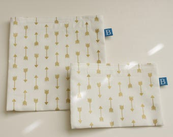 Reuseable Eco-Friendly Set of Snack and Sandwich Bags in White with Gold Arrows Fabric