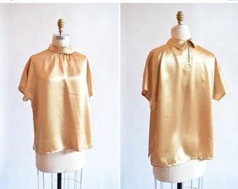 25% off Storewide // Vintage 1980s METALLIC gold blouse