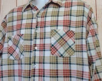 Vintage 90s Ozark Trail Plaid Button Front Long Sleeve Grunge Boho Flannel Shirt Mens XL