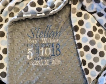 Custom Personalized baby blanket- Minky Dimple dot silver/mod dot baby blue