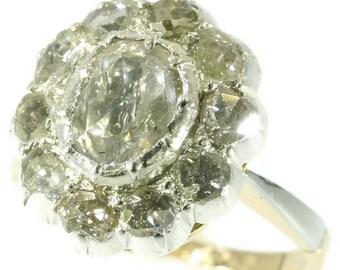 Cluster diamond engagement ring 18k gold large center rose cut diamond vintage ring
