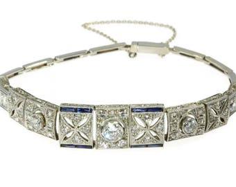 Blue sapphire diamond bracelet 14k white gold old European cut diamonds 1.27ct vintage Art Deco bracelet 1920s jewelry