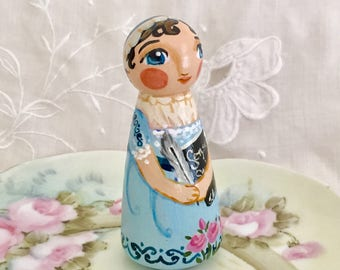 Jane Austen authoress historical peg doll - art doll - made to order