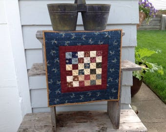 "PATRIOTIC Civil War MINIATURE QUILT, 17 1/2"" x 17 1/2"", Scrappy Quilt, Quilted By Hand, Fourth Of July Quilt, Tablemat, Wallwarmer, Handmade"
