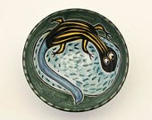 Ceramic Lizard Cereal Bowl, Five Lined Skink, Small Serving Bowl, Soup Bowl, Majolica, Pottery Bowl, Reptile, Gift for Him, Gift for Her
