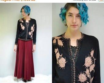 sale 25% off - 50s Black Beaded Cardigan  //   Angora Wool Sweater  // THE TRESEUR
