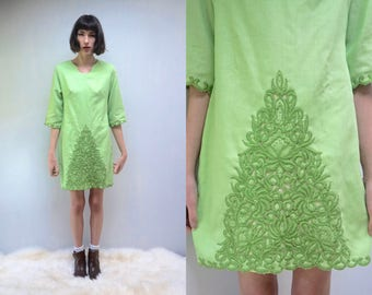 Short Caftan Dress //  Moroccan Dress  //  Embroidered Dress  // 60s MIni Dress  //  Linen Like Dress // THE MATCHA