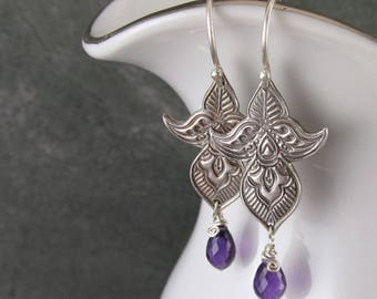 Floral mehndi earrings with amethyst, handmade eco friendly fine silver earrings-OOAK February birthstone