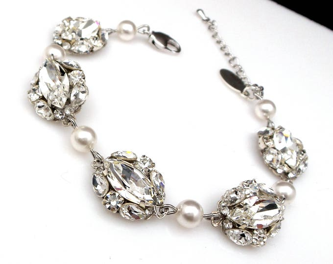Wedding jewelry bridal silver bracelet prom pageant swarovski clear white multi shape marquise fancy rhinestone crystal and round pearl