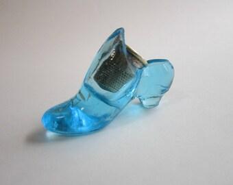 antique blue glass thimble shoe - Victorian thimble holder
