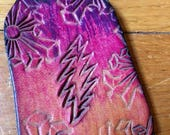 13 Point Lightening Bolt Grateful Dead Keychain Hand-tooled hand-dyed Cowhide Leather Keychain by LostSailorDesign