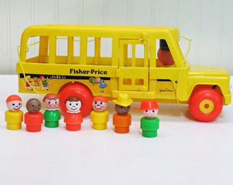 1984 Fisher Price School Bus Pull Toy w/ Kids #192 Rolling Eyes