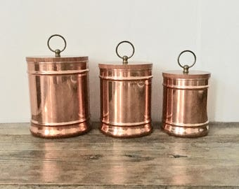 Copper Canisters Set / Tri Of Copper Canisters / Rustic Copper Kitchen Decor