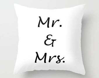 Newlyweds Throw Pillow Cover, Wedding Gift, Mr and Mrs Pillow Cover, Married Throw Pillow, Bride and Groom Home Decor, Bed Throw Pillow