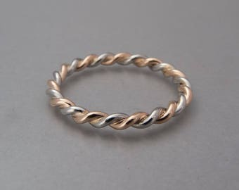 Platinum and Gold Twist Ring - Delicate 1.6mm Two Tone Rope Ring in Platinum and 18k Yellow or Rose Gold