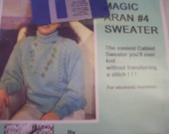 The Magic Aran #4 Sweater Pattern, Machine Knitting Pattern, Easy Cable Sweater, Ricki Munstock Sweater Pattern with Disk