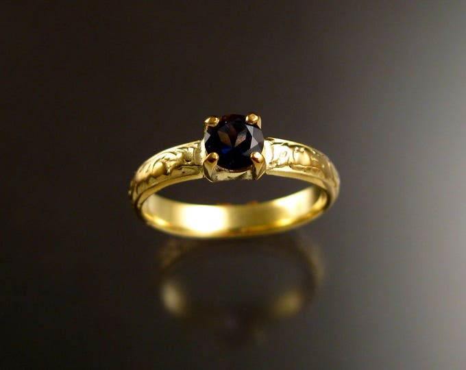 Iolite 14k Green Gold Victorian floral pattern Sapphire substitute wedding / engagement ring