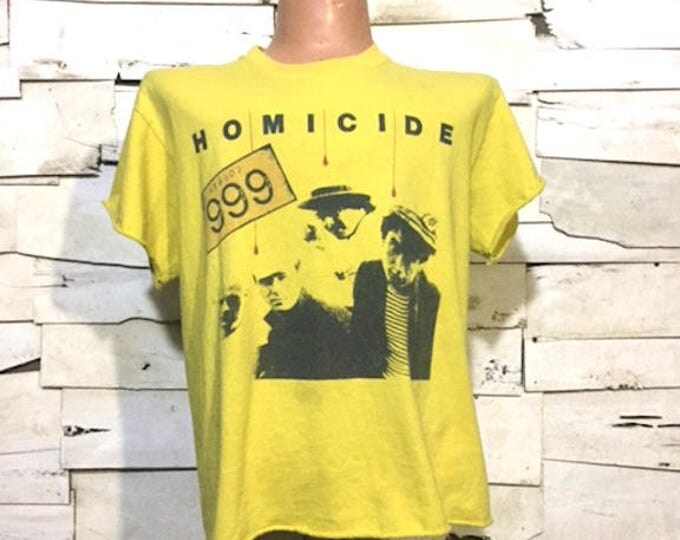 Vintage 999 Homicide 1978 British Punk Rock  Distressed T-Shirt (ps-ts-12)