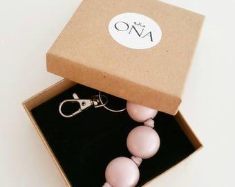 Dusty Pink Bag Zip Charm or Keyring