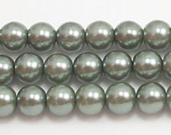 6mm Dark Green Glass Pearls- one strand of 6mm glass pearls-High Quality glass pearls-Swarovski quality at half the price