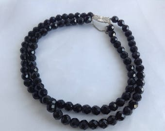 Vintage Black Bead Necklace, Sterling Silver Clasp Necklace, Double Strand Bead Necklace