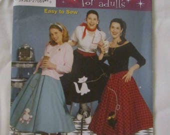 New Uncut Pattern Adult Size 6-12  1950s Poodle Skirt Costume  -5403- FREE SHIPPING US