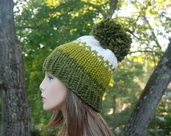 Ombre Knit Hat, Green and White Ombre Hat, Women's Knit Hat, Pom Pom Hat, Slouchy Hat, Winter Hat, Hand Knit Hat, Knit Hat, Chunky Knit Hat
