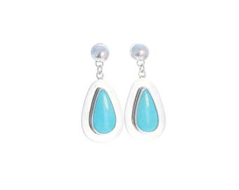KINGMAN TURQUOISE Earrings Sky Blue Large Teardrops
