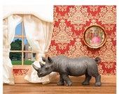 FALL SALE Rhino animal diorama art print - Better Homes and Rhinos