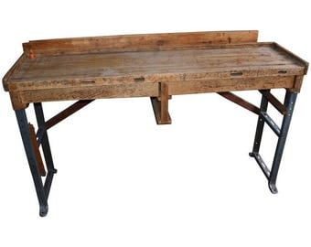 Desk / Table for Professional Jeweler with Maple Top, Steel Legs and Two Drawers