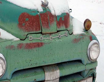 Old Dodge 1948 Truck square image vintage Teal Green snowy winter rust hood sage pistachio celery antique Pickup 8x8 Giclee Photograph home