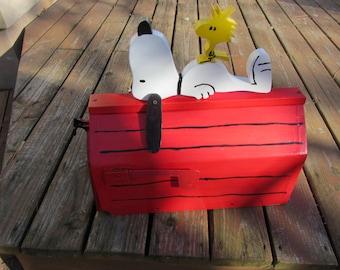 Handmade custom designed cartoon dog and bird  locking mailbox