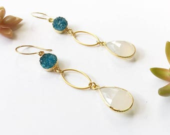 Green Druzy + White Faceted Chalcedony Teardrop Earrings with 14k Gold Fill