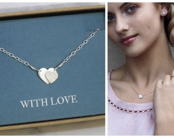 Double heart necklace silver, heart necklace for girlfriend, Christmas gift for loved one - Carys