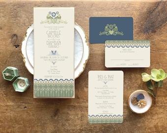 Art Deco Wedding Invitations, Floral Wedding Invitations, Gatsby Wedding Invitations, Navy Wedding Invitation Set, Le Tulip Design