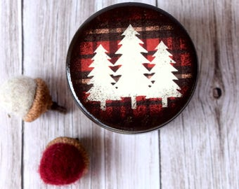 Plaid Pines Powder Box, Wooden Box, trinket box, Wood Container, Treasure Box, Wooden Keepsake, Kids Box, Storage, Rustic Holiday
